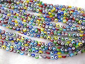 2strands 4 6 8 10 12mm  Glass Chevron Beads Swiss Blue Sapphire Round Disc Evil flower pattern European Spacer Beads Vitange Loose Jewelry