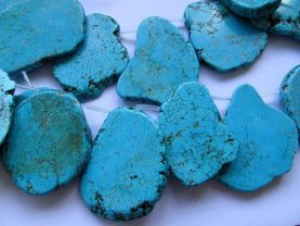 Top Drilled- Turquoise Gemstone Green  blue turquoise freeform slab beads Nugges Turquoise Necklace  20-80mm full strand