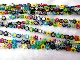 2strands 8-12mm High Quality Glass Chevron Beads Round  Star Fluorial flower pattern European Beads Vitange Loose Jewelry