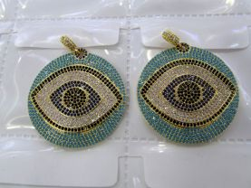 Teal blue Diamond Crystal  Eyes  Micro Crystal Pave Diamond Pendant gunmetal Jewelry Focal   Round Disc Evil Jewelry beads 28-40mm 2pcs