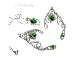 Green and Silver Shades elven ears and pendant, Elven Wedding, elvish jewelry, no piercing earrings, elf ear cuff, elf ear wrap, elf costume