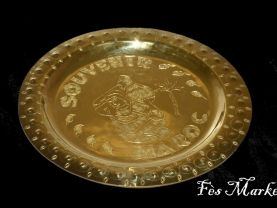 moroccan lovely Memorial Dish3 yellow copper vintage art new morocco home decor