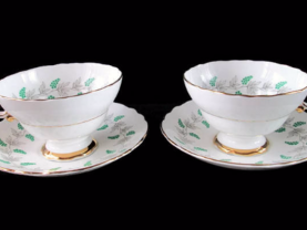 Crown Staffordshire Fine Bone China Cup and Saucer  Set of 2