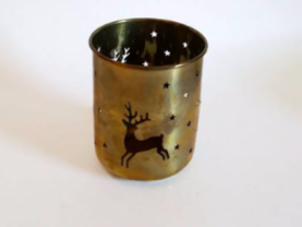 Brass Tealight Holder  Die-cut Reindeer Design