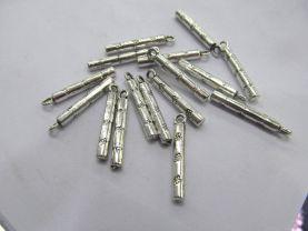 50pcs Bar silver alloy metal charm focal pendant  column filigree  earrings loops 25mm