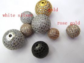 Free ship--12pcs 6-16mm Micro Pave Bling Beads  White Silver Rose Gold Mixed color CZ Bead,Black Gunmetal Round Ball charm jewelry