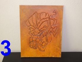 Leather Wall Art, Tooled leather, Tiki mask, Leather decor,