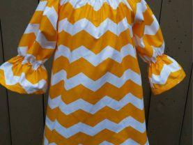 Yellow Chevron Peasant Dress