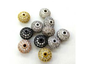 12pcs  Micro Pave Cubic Zirconia Rondelle Beads-gold CZ Pave Bead-jewelry findings,Spacer-Diamond Style Micro pave CZ 8-12mm