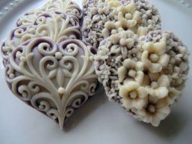 50 heart soap favors - heart baby shower favors - bridal shower favors - quinceanera favors - birthday party favors - purple wedding favors