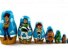 Matryoshka Russian Nesting Doll Babushka Toy Story Sheriff Woody Buzz Lightyear Mr. Potato Rex Set 7 Pc Matrioska Matrioshka Wooden Stacking