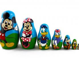 Matryoshka Russian Nesting Doll Babushka Cartoon Characters Mickey Minnie Mouse Donald Duck Goofy Pluto Set 7 Pc Matrioshka Wooden Stacking