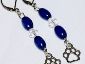 Handmade pawprint earrings with blue beads & crystal