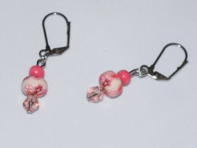 Handmade pink earrings, crystal, clay and vintage wood beads