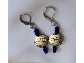 Handmade paw print earrings, silver disc, blue glass beads