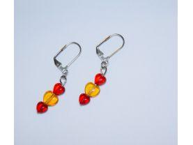 Handmade red earrings, red and honey heart beads