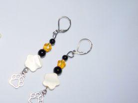 "Handmade ""Berner"" earrings, pawprint charm, black onyx & riverstone, white mother-of-pearl & amber glass beads"