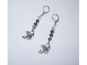 Handmade dragon earrings, dragon charm with Czech crystals in silver, grey, purple and clear