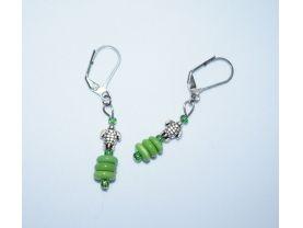 Handmade turtle earrings, turtle charm and green glass beads