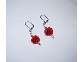 Handmade rose earrings, red rose bead, silver metallic and E beads