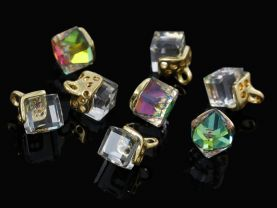 10 Ab Clear Glass Cube Charms