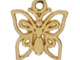 10 Butterfly Gold Plated Hollow Charms for Jewelry Making