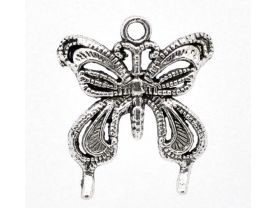 6 Great Antique Silver Butterfly Charm /Pendants for Jewelry making
