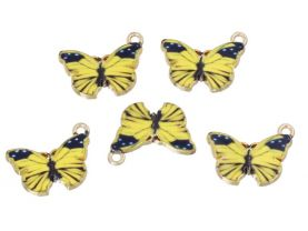 5 Yellow and  Black Butterfly Charms for Jewelry Making