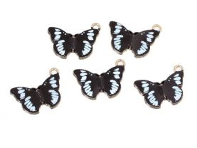 % White and Black Butterfly Charms for Jewelry Making