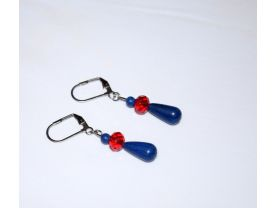Handmade blue and red earrings, lapis blue resin beads with red faceted crystal