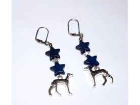Handmade dog earrings, blue howlite stars, antiqued silver star, dog charm, seed bead
