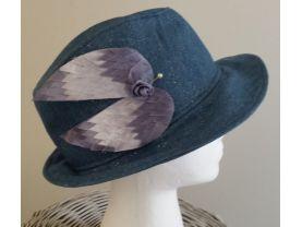 women's fedora hat, sparkle denim, handmade
