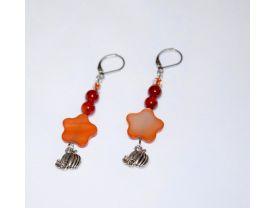 Handmade pumpkin earrings, copper mother of pearl flower, red agate, E bead and pumpkin charm