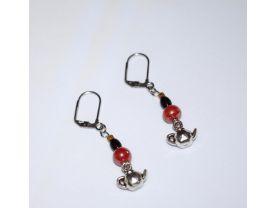 Handmade teapot earrings, cinnamon and black glass beads, teapot charm