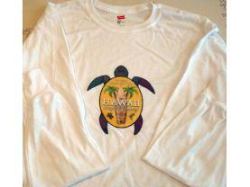 Hawaii Surfing Style T Shirt Surfer Tee Long Sleeve Hanes Adult Medium