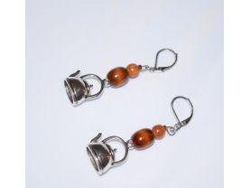 Handmade teapot earrings, brown wood beads, teapot charm