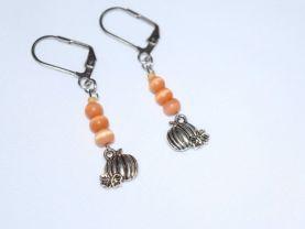 Handmade pumpkin earrings, orange cat