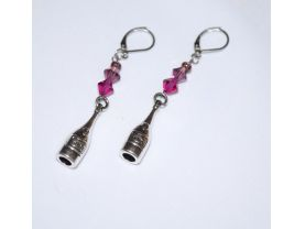 Handmade purple earrings, purple  and magenta Swarovski crystals, wine bottle charm