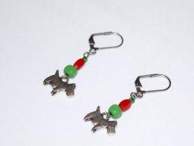 Handmade dog earrings, red glass and green wood beads, dog charm