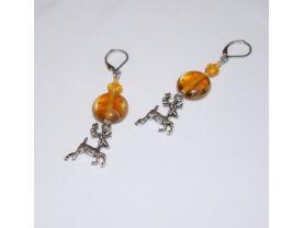 Handmade reindeer earrings, amber colored glass disc and star beads, reindeer charm