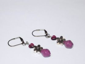 Handmade purpe earrings, purple heart and rolled paper bead, silver flower bead