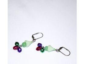 Handmade jingle bell earrings, green, purple & fuchsia bell beads, green glass beads