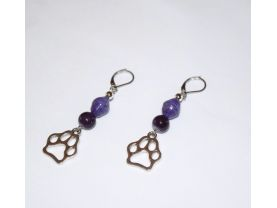 Handmade purple pawprint earrings, purple glass and paper beads, pawprint charm