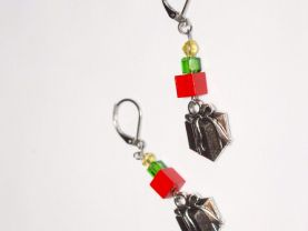 Handmade Christmas box earrings, red wood  and green crystal cubes, yellow crystal, gft box charm