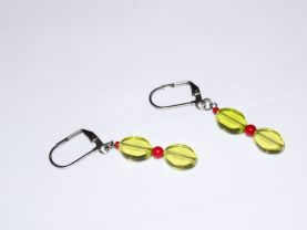 Handmade green earrings, translucent green glass ovals, red bamboo and seed beads