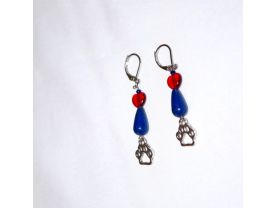 Handmade pawprint earrings, blue resin teardrop, red glass heart, papwprint charm