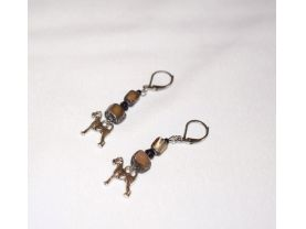 Handmade schnauzer dog earrings, black grey mother of pearl chips, black glass beads, schnauzer dog charm