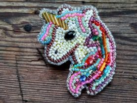 Cute embroidered unicorn brooch. Beaded rainbow unicorn pin. Lovely animal brooch. Unicorn jewelry. Christmas gift. Unic