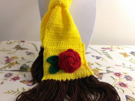 """Disney Collection - kids """"Beauty and the Beast"""" Belle inspired scarf - crocheted yellow scarf with rose"""
