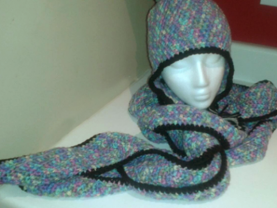Set: Winter beanie with braids and pom pom and extra long curvy scarf